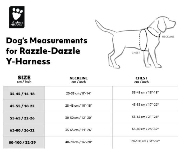 Maattabel Hurtta Razzle Dazzle y-harness