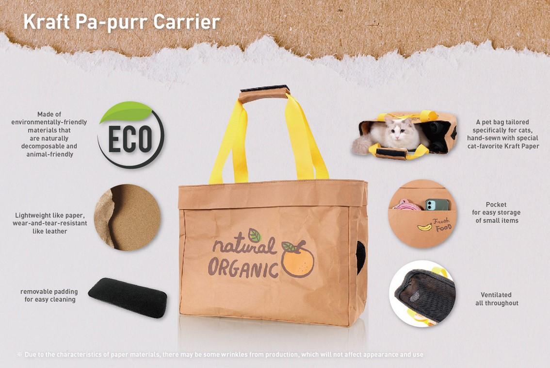 Ibiyaya Wasbare Kraftpapier katten vervoerstas Organic Fruit informatie
