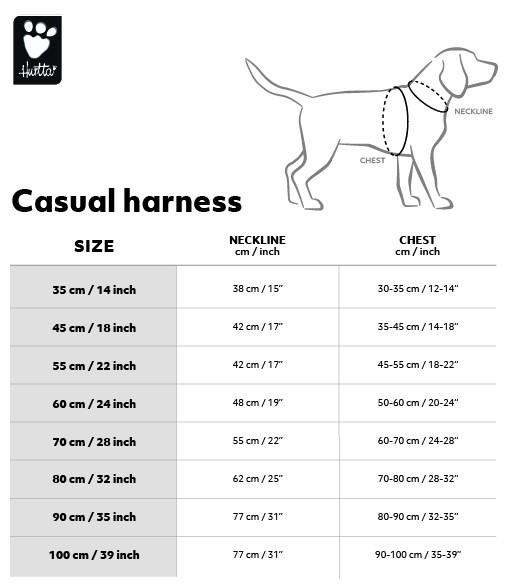 Maattabel casual Harness